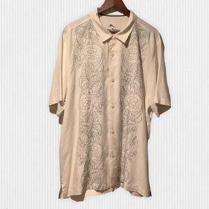 Tommy Bahama Ivory & Grey Silk Camp Shirt XL
